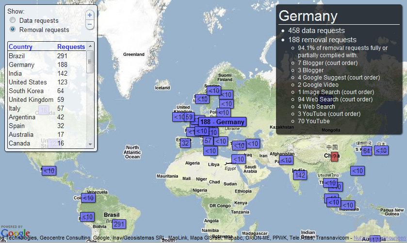 Googles Weltkarte der Löschanträge