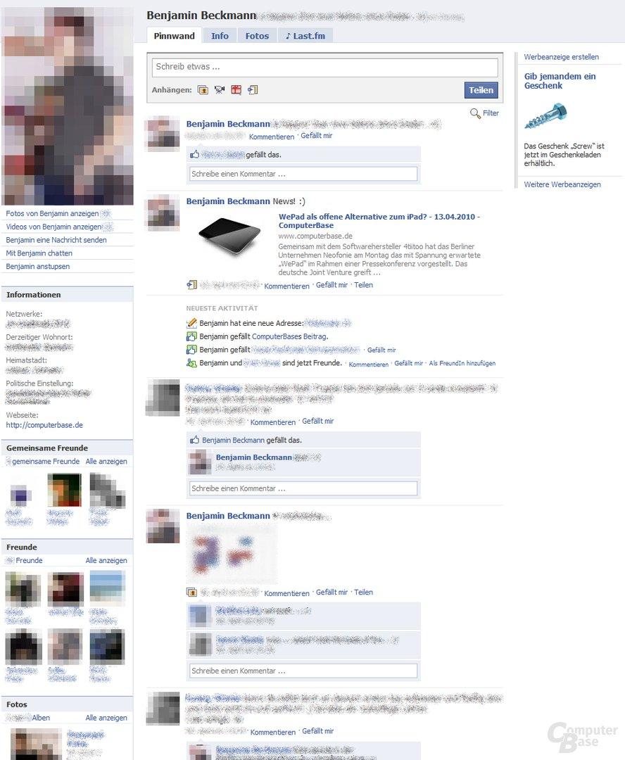 Zu viele Details im öffentlichen Profil