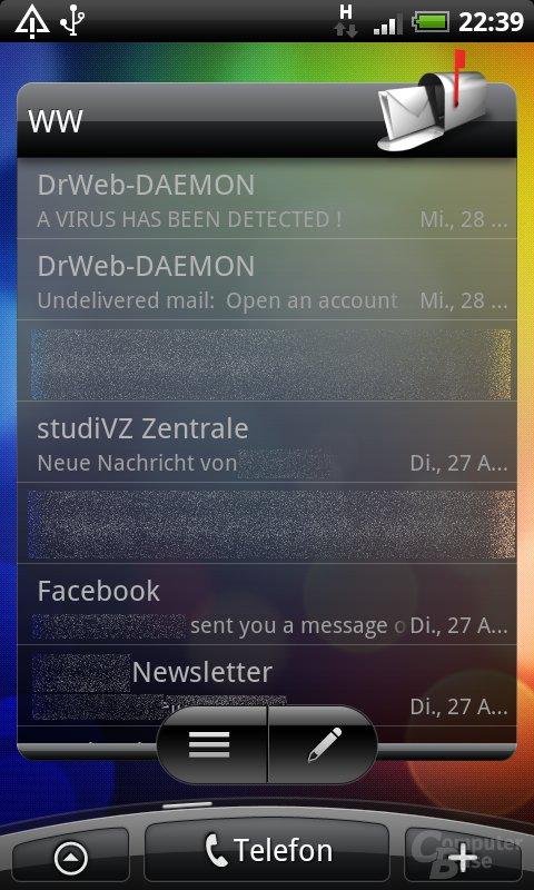 Desire-Homescreen (E-Mails)