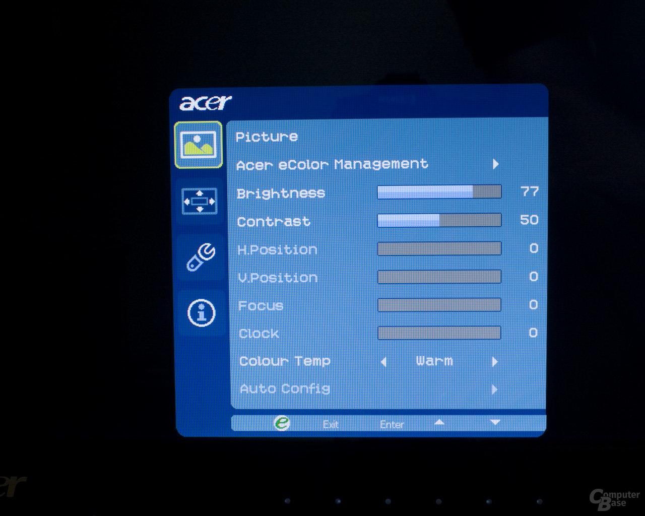 Onscreen Menü Acer D241H 3