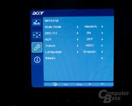 Onscreen Menü Acer D241H 5