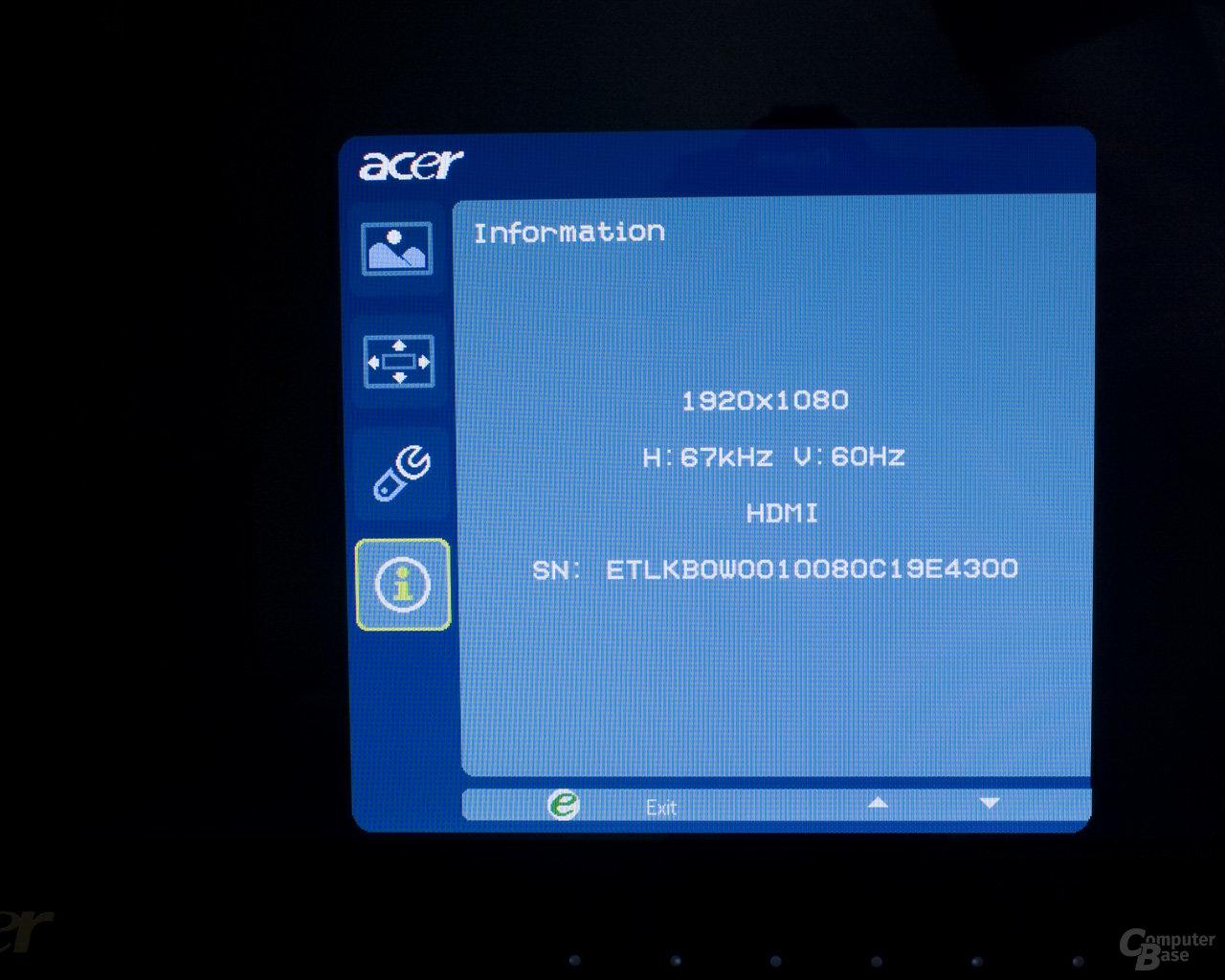 Onscreen Menü Acer D241H 6