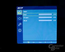 Onscreen Menü Acer D241H 7