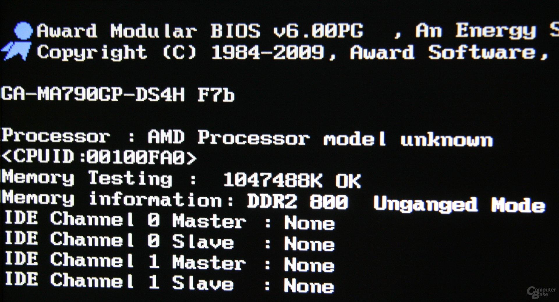 Ohne richtige CPU-Unterstützung gibt es wenigstens ein unbekanntes Modell