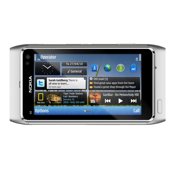 Nokia N8 – Vorderseite (silber)