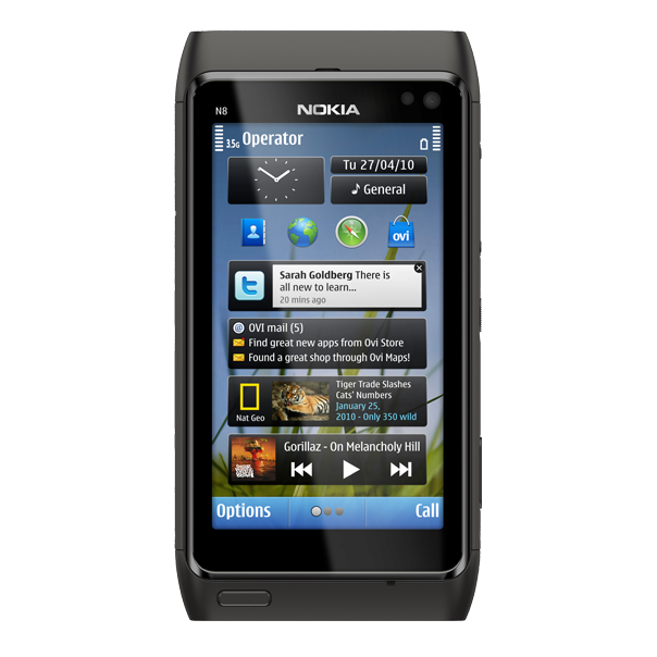 Nokia N8 – Vorderseite (dunkelgrau)