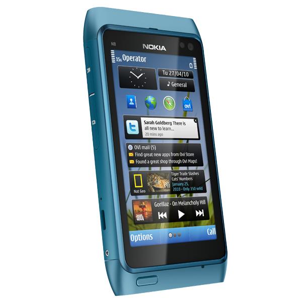 Nokia N8 – Seitenansicht (blau)