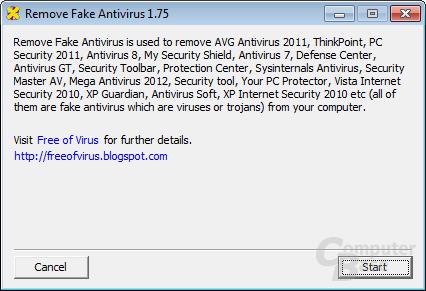 Remove Fake Antivirus – Start