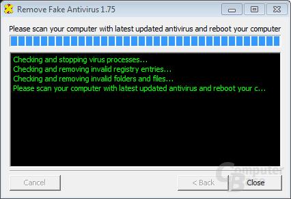 Remove Fake Antivirus – Close