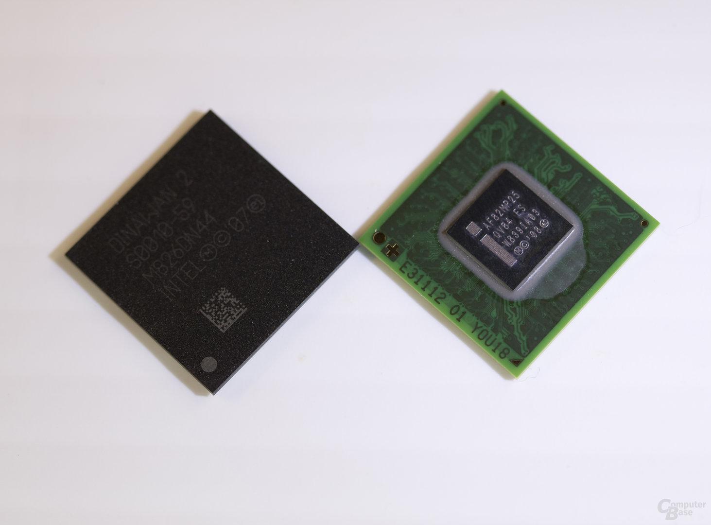 Intel Atom Z600 (rechts) und Platform Controller Hub