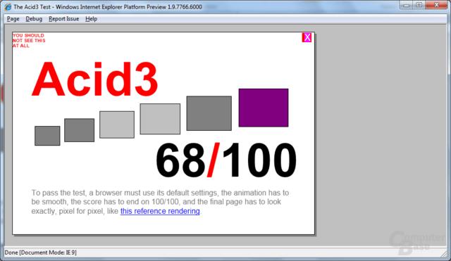 Internet Explorer 9 Platform Preview 2 – Acid3-Test