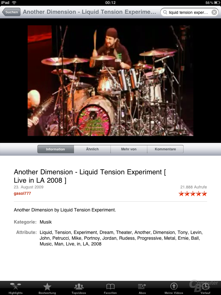 YouTube-Video auf dem iPad