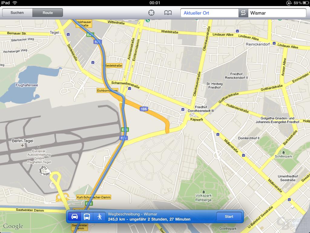 Immer dabei: Die Standard-App Google Maps