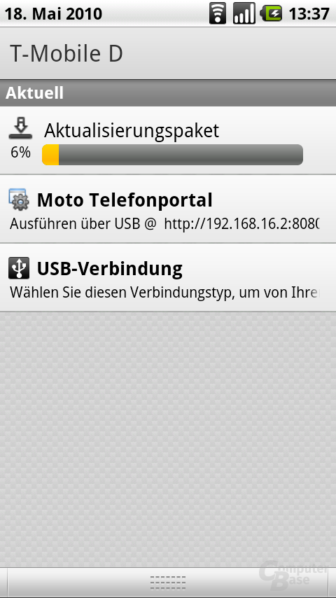 Update von Android 2.01 zu 2.1 wird heruntergeladen