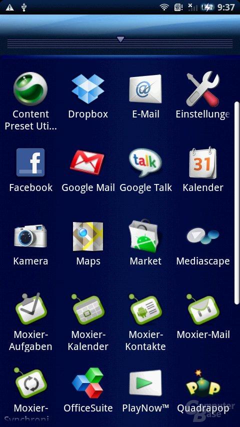 Liste der Apps (Raster)