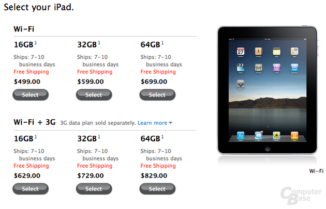 Apple iPad im Apple Online-Store (USA)