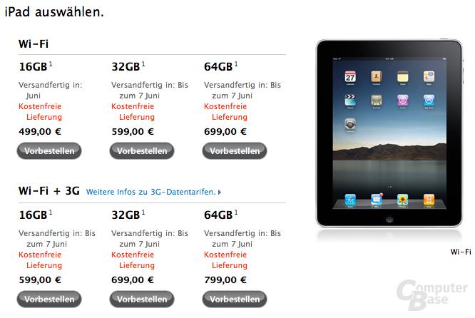 Apple iPad im Apple Online-Store (Deutschland)