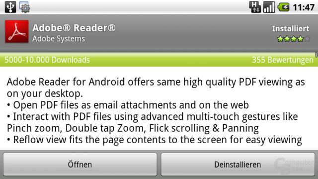 Eintrag im Android Market