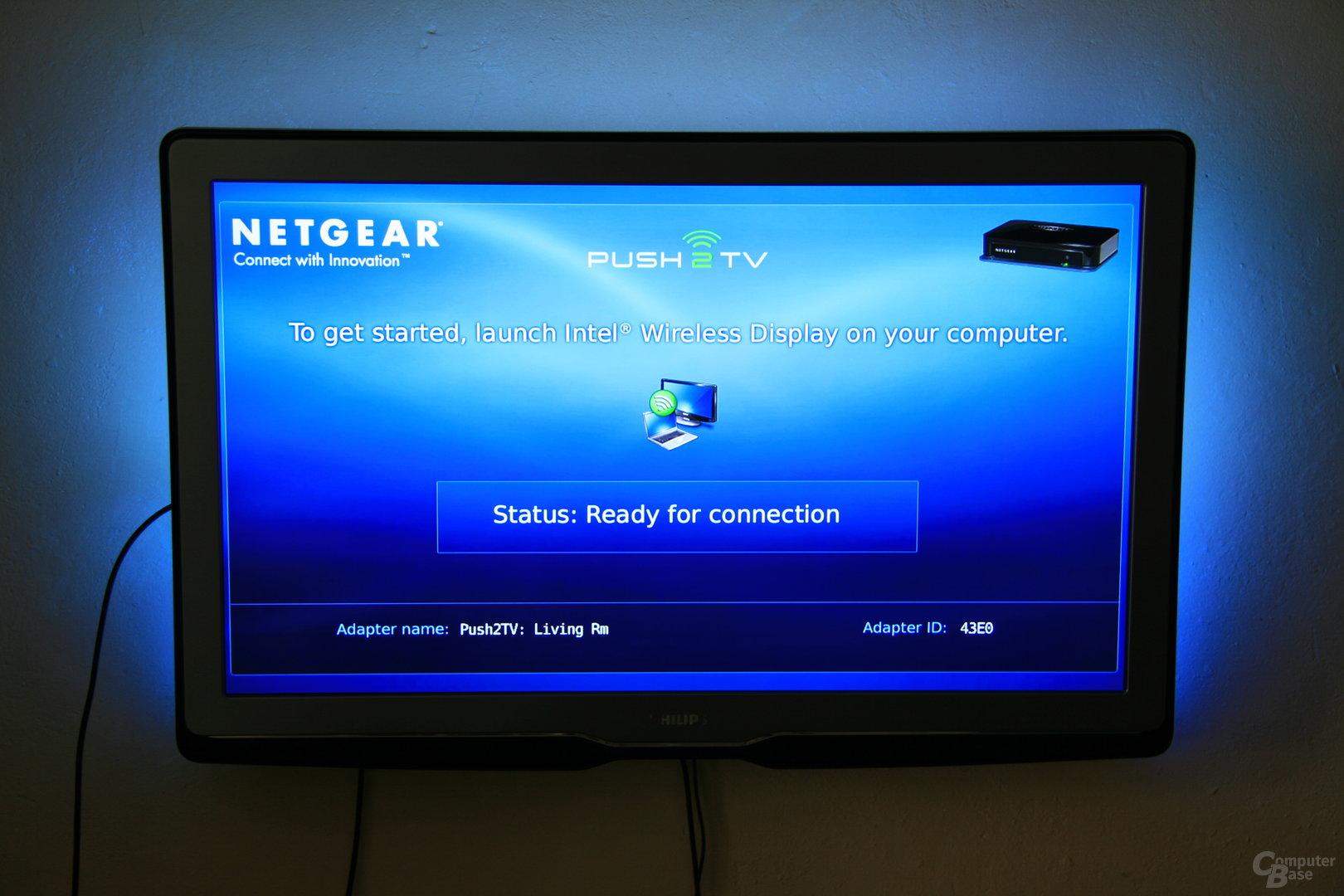 Fernseher und PTV1000 warten auf das Notebook