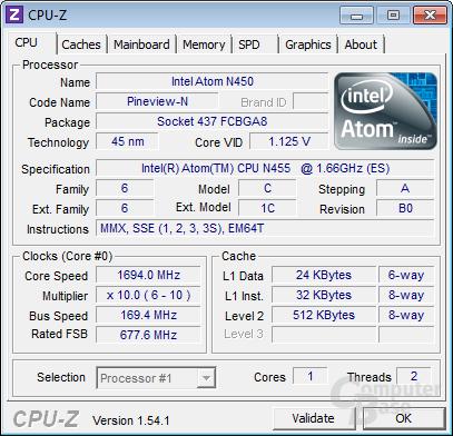 CPU-Z-Shot des neuen Atom N455