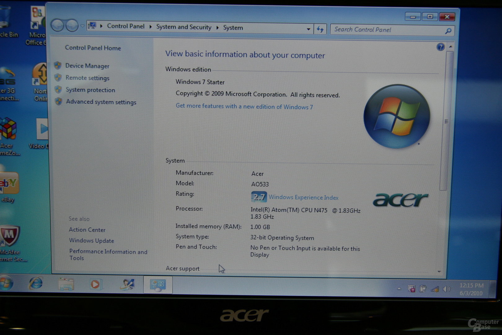 Acer Asprire One 533