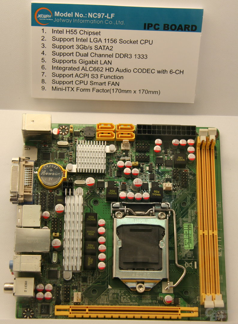 Jetways Mini-ITX-Board mit H55-Chipsatz