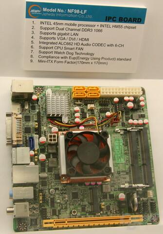 Jetways Mini-ITX-Board mit HM55-Chipsatz
