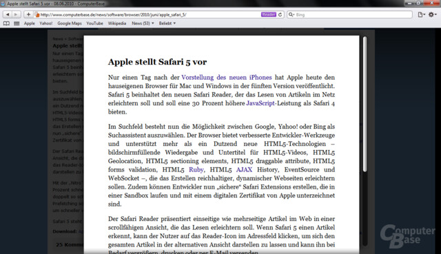 Safari 5: Reader
