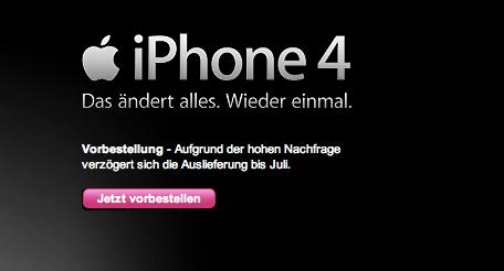 Telekom verschiebt iPhone 4