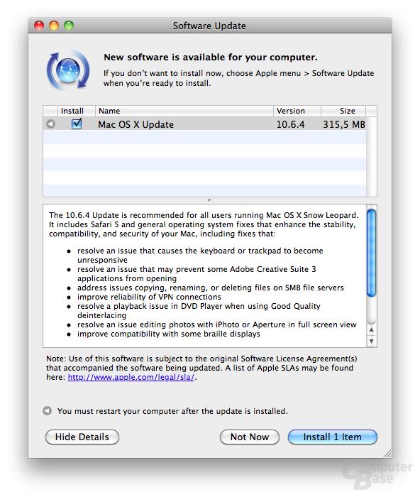 Update auf Mac OS 10.6.4 verfügbar