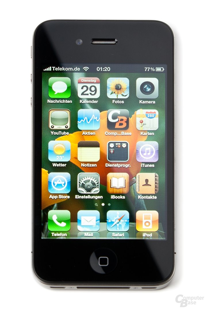 iPhone 4 frontal, Display aktiviert