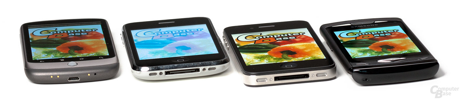Spitzer Blickwinkel: Nexus One, iPhone 3GS, iPhone 4, Wave S8500
