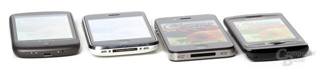 Simulierte Sonnenstrahlen: Nexus One, iPhone 3GS, iPhone 4, Wave S8500
