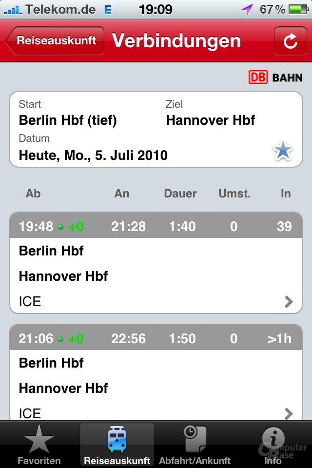 iPhone 4: DB Navigator