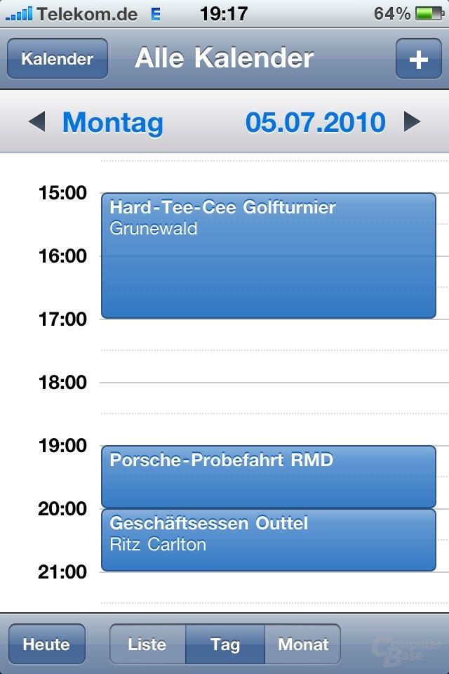 iPhone 4: Kalender-Übersicht