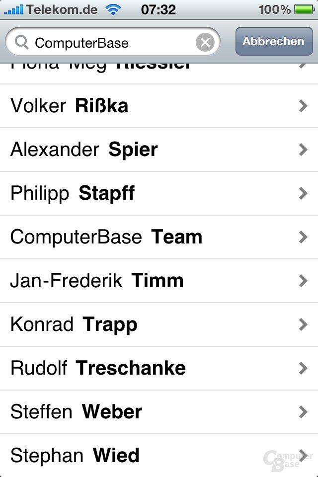 iPhone 4: Suche nach Kontakten