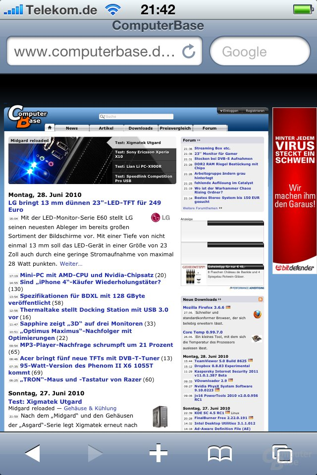 iPhone 4: ComputerBase.de im Browser