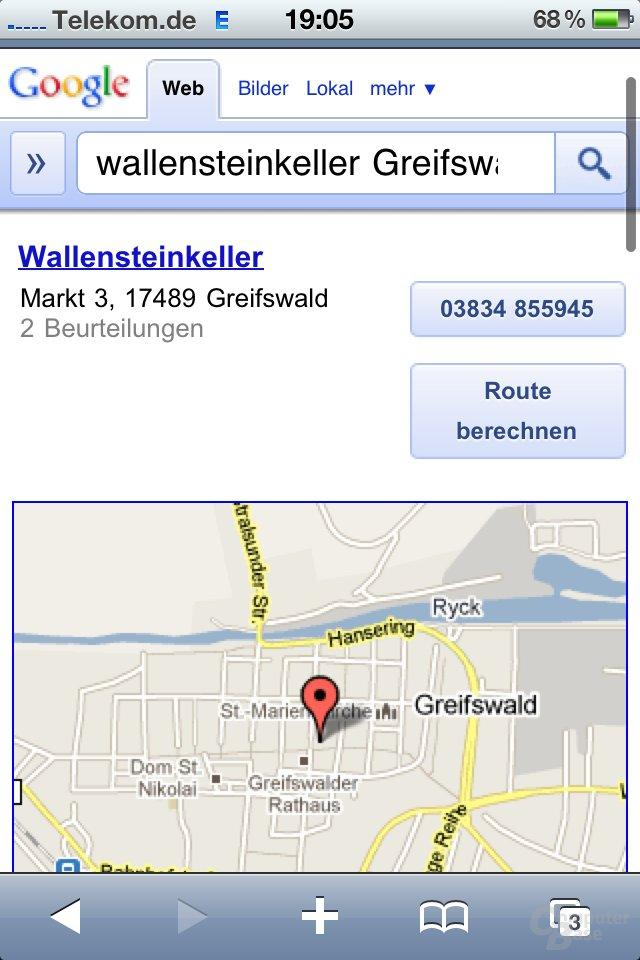 iPhone4: Google-Suche nach einem Restaurant