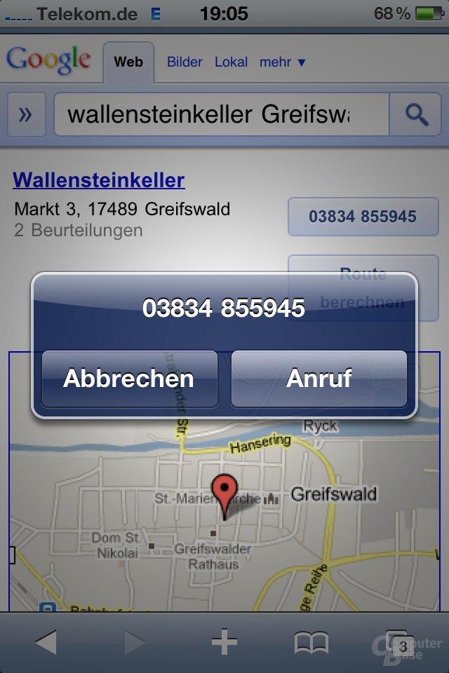 iPhone 4: Im Browser direkt wählen