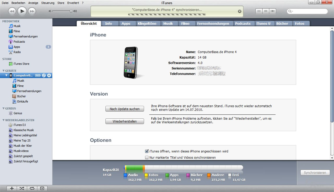 iPhone 4: iTunes-Synchronisierung