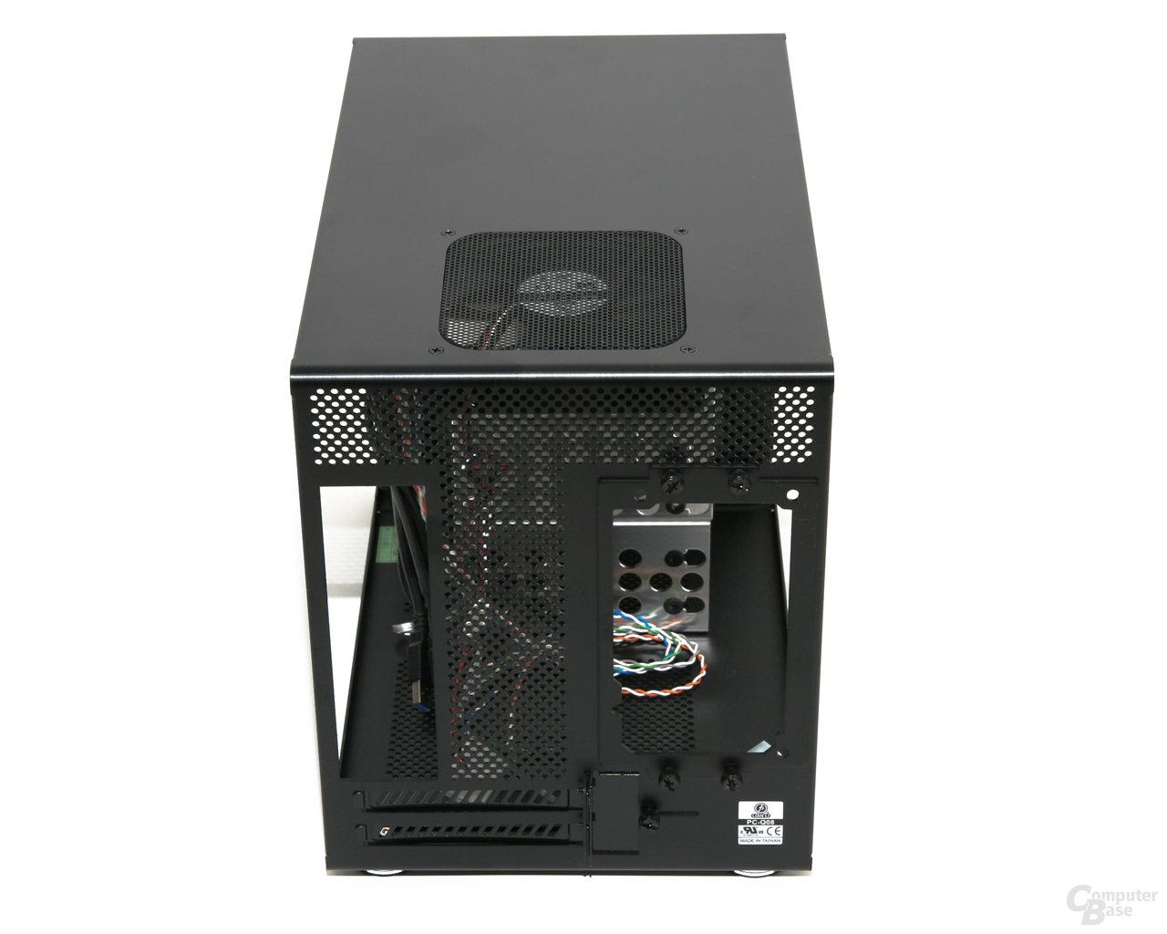 Lian Li PC-Q08 – Rückansicht ohne Seitenwände