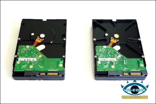 Altes 2-TByte-Modell mit 4 Platter (li) und 1-TByte-Platte mit 2 Plattern (re)