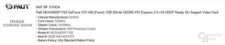 Palit mit übertakteter GeForce GTX 460 1 GByte
