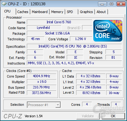 Intel Core i5-760 bei 4 GHz