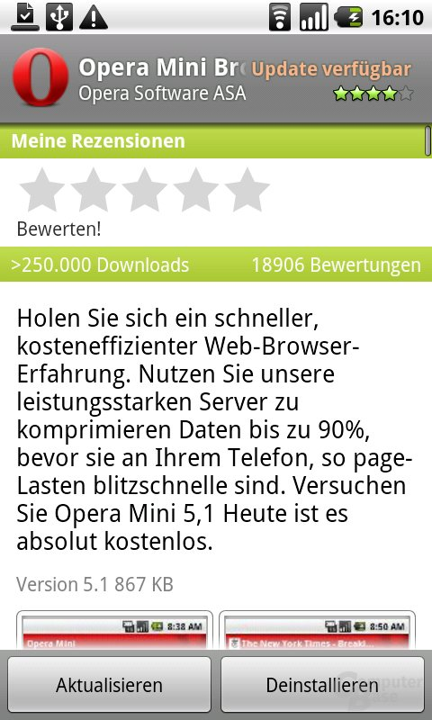 Oper Mini 5.1 im Android-Market