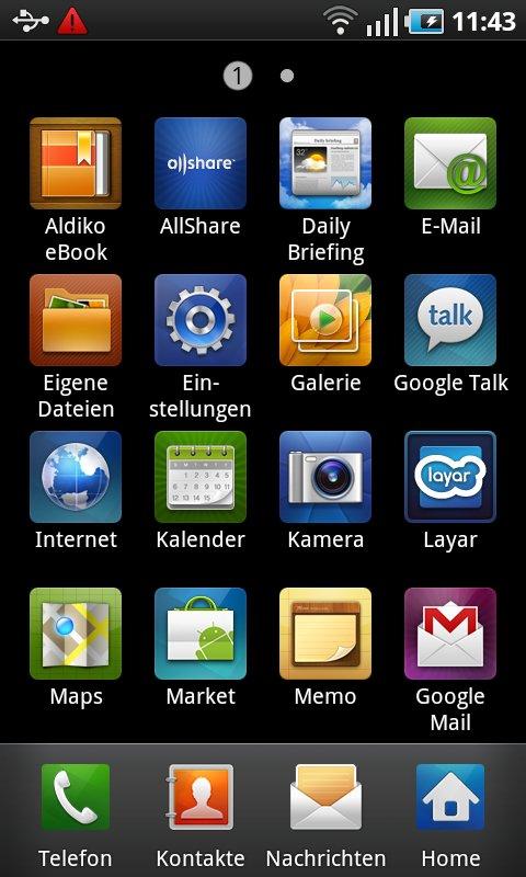 Samsung Touchwiz: App-Menü