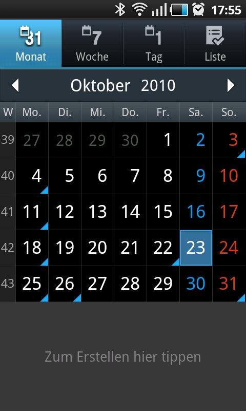 Samsung Touchwiz: Kalender