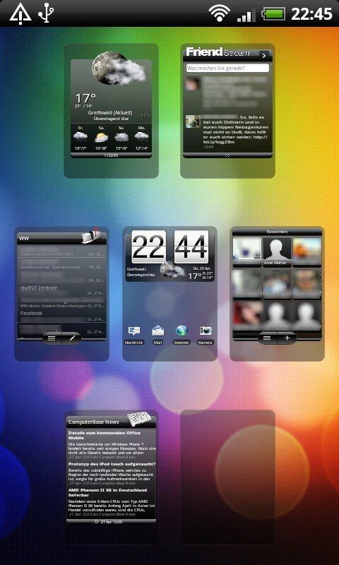 HTC Sense: Screen-Auswahl