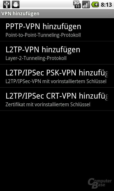 Android 2.2: VPN hinzufügen