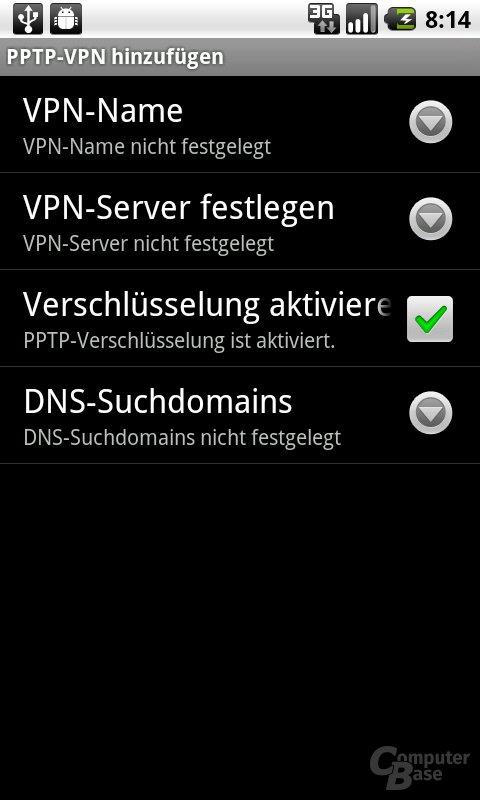 Android 2.2: VPN-Details festlegen
